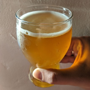 Gold colored beer in glass